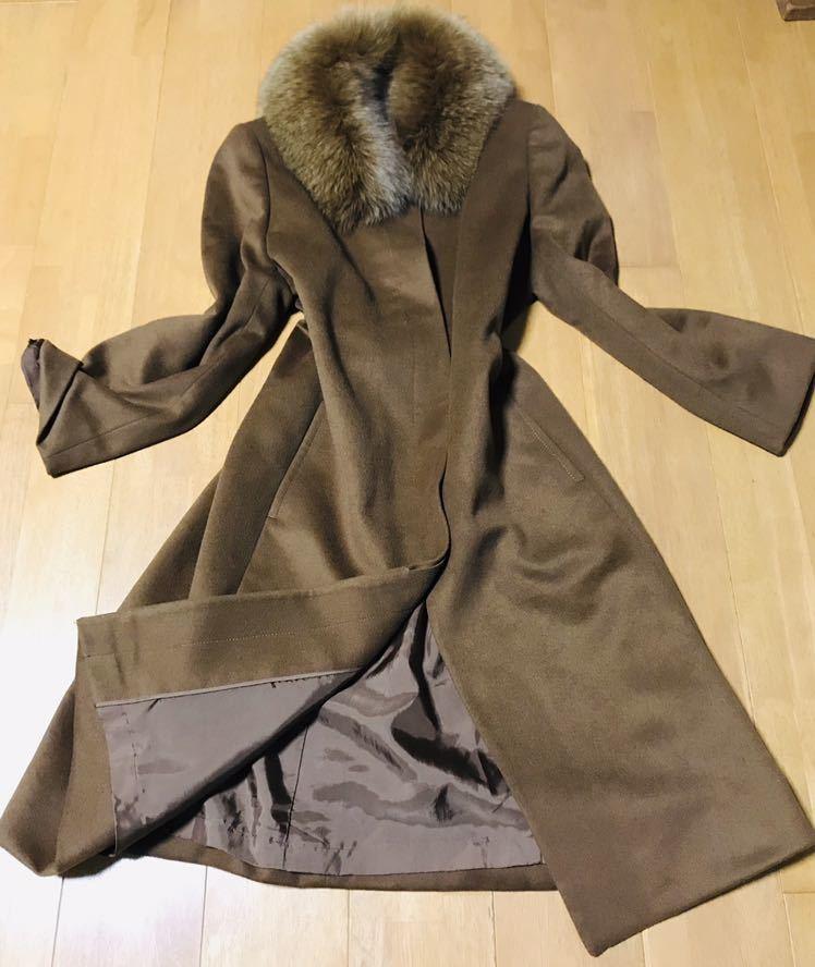美品 カシミヤ 100% フォックス ファー ステンカラー コート 高級 素材 上品 鮮やか キャメル 茶色 レディース 女性 秋 冬 春