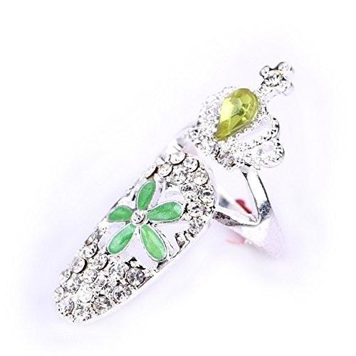 オシャレ ネイルリング キラキラ ジュエリー 指輪 爪 ネイルチップ ネイルリング アクセサリー E