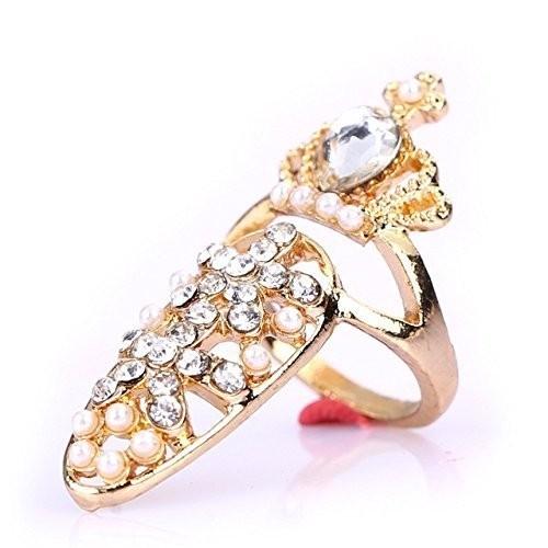 オシャレ ネイルリング キラキラ ジュエリー 指輪 爪 ネイルチップ ネイルリング アクセサリー F