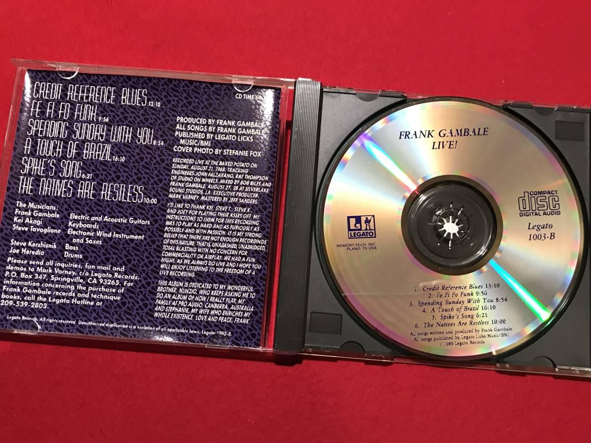 8883●CD●FRANK GAMBALE/フランク・ギャンバレ 『LIVE!』 スレキズ、ケースに汚れ、キズなどあり 中古_画像3