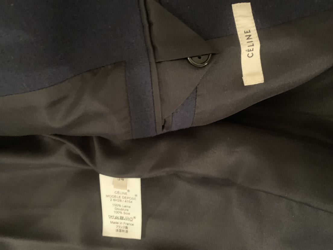 CELINE セリーヌ クロンビー コート フィービー 34 ネイビー 紺 ジャケット ブルゾン レザー 美品_画像4