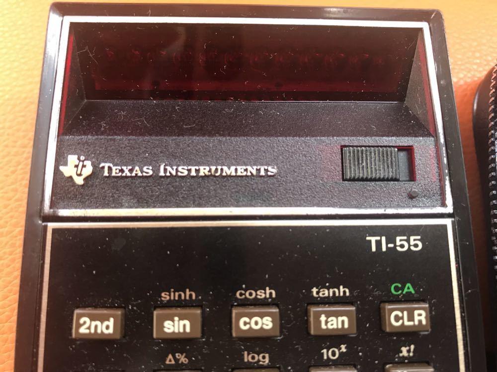 希少 作動品★TEXAS プログラマル関数電卓「TI-55」ACアダプタ付 専用ケース付 名機 USA 1970年代 TEXAS INSTRUMENTS 昭和 ヴィンテージ_画像3