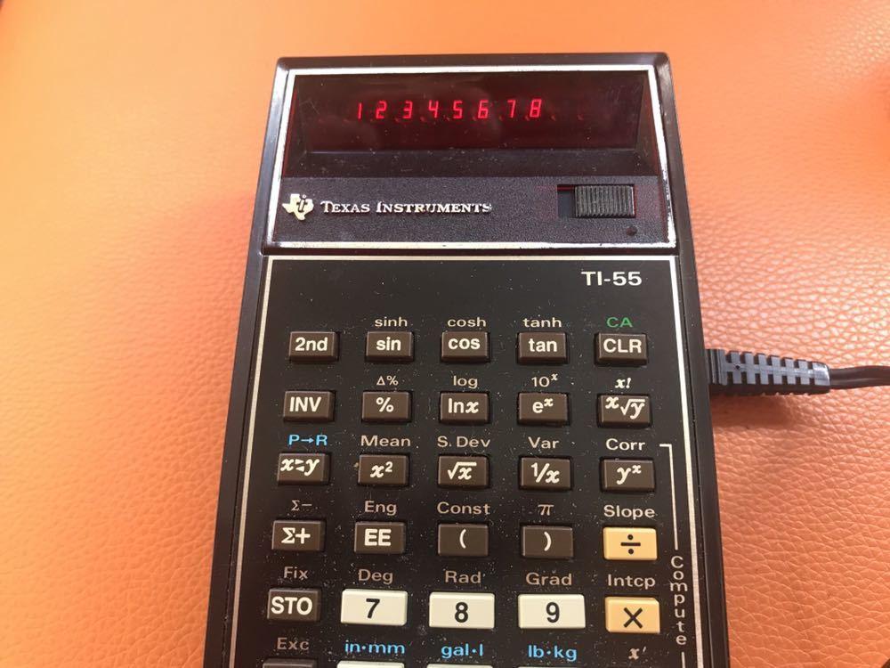 希少 作動品★TEXAS プログラマル関数電卓「TI-55」ACアダプタ付 専用ケース付 名機 USA 1970年代 TEXAS INSTRUMENTS 昭和 ヴィンテージ_画像2