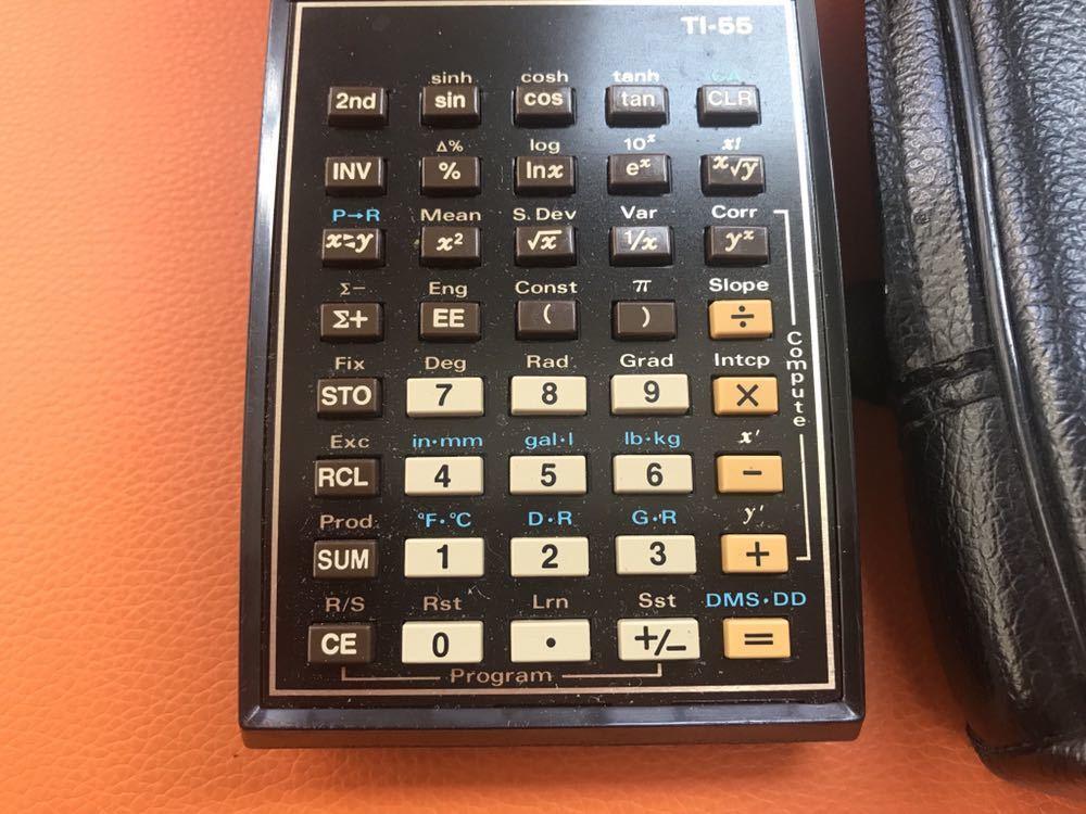 希少 作動品★TEXAS プログラマル関数電卓「TI-55」ACアダプタ付 専用ケース付 名機 USA 1970年代 TEXAS INSTRUMENTS 昭和 ヴィンテージ_画像4