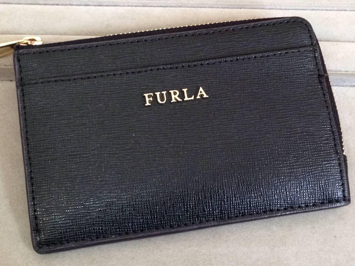 即決 未使用 FURLA フルラ レザー L字ファスナー 財布 カードケース 小銭入れ ICカードケース 電子マネー ファスナー コインケース 黒 新品_画像1