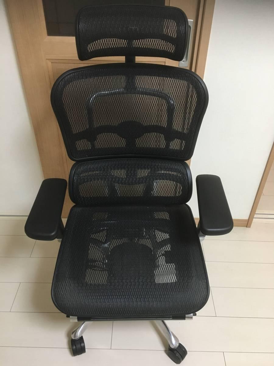 エルゴヒューマン Ergohuman オフィスチェア プロ ヘッドレスト付き オットマン内蔵 EHP-LPL BK KM-11 ブラック 良品