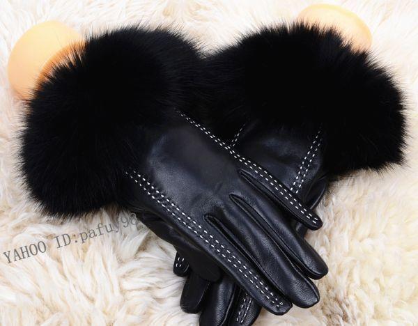 【送料無料】スマホ対応 ★ ラムレザーとフォックス が贅沢な手袋黒