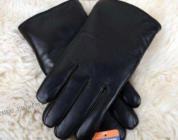 【送料無料】本物 新品☆メンズ用★暖かいラムムートン手袋 ★限定 黒 男性用 皮革、レザー
