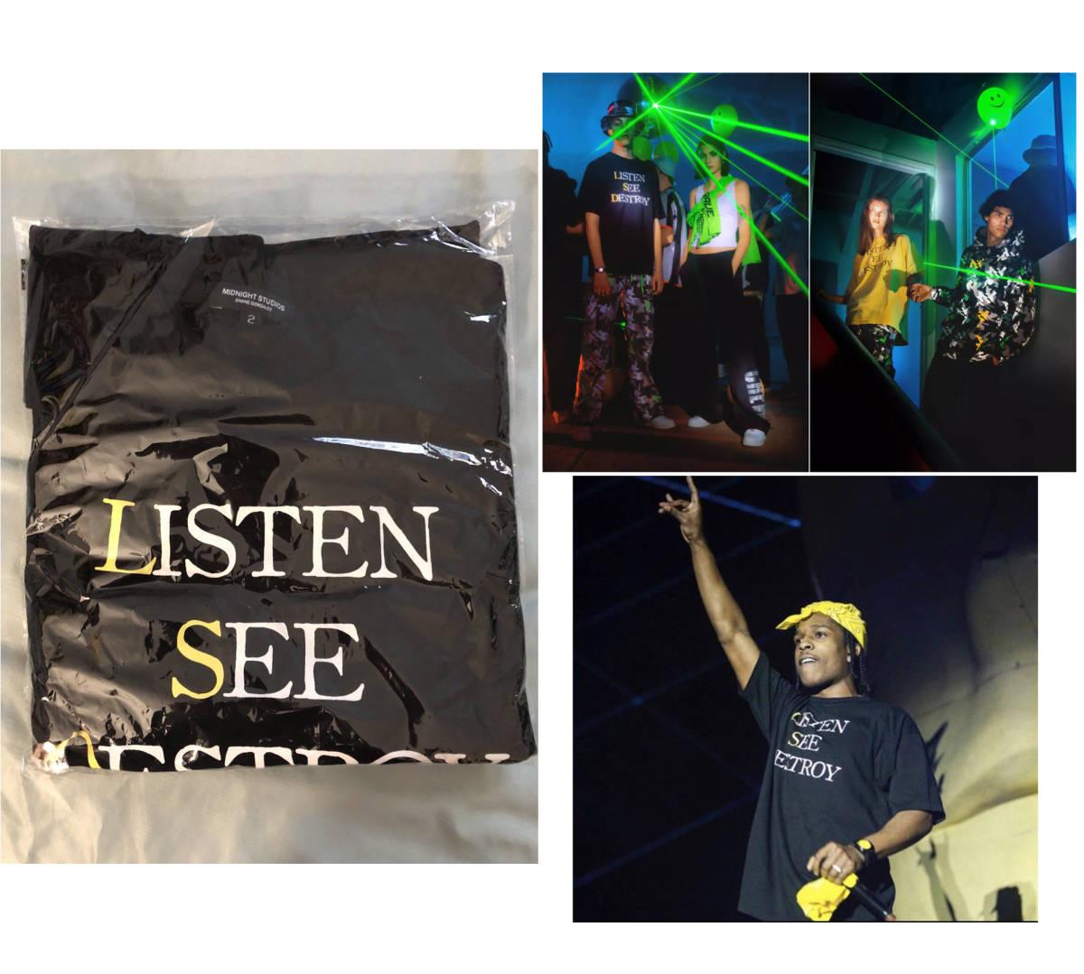 本物レア【即決】Midnight Rave Tシャツ LSD listen see destroy 新品タグ付き サイズ2 黒 L ASAP ROCKY着用 AWGE Midnight studios_画像1