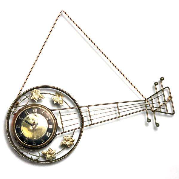 送料無料 アンティークウォールクロック UNITED/ヴィンテージ壁掛け時計アメリカ製usa製ミッドセンチュリーバンジョーギター楽器50s60s70s_画像1