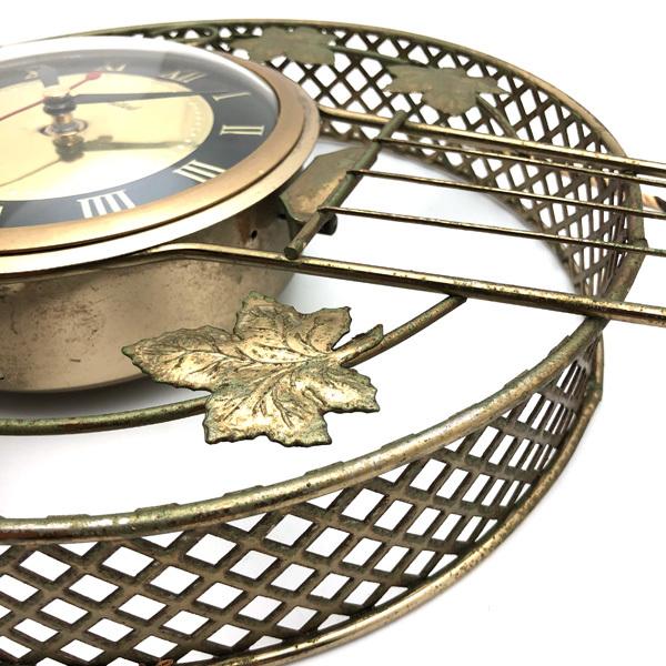 送料無料 アンティークウォールクロック UNITED/ヴィンテージ壁掛け時計アメリカ製usa製ミッドセンチュリーバンジョーギター楽器50s60s70s_画像6