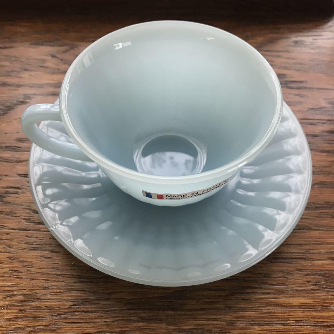 ミスタードーナツ カップ&ソーサー シール付き新品 アルコパル arcopal ノベルティ ミルクガラス ミスド 食器_画像9