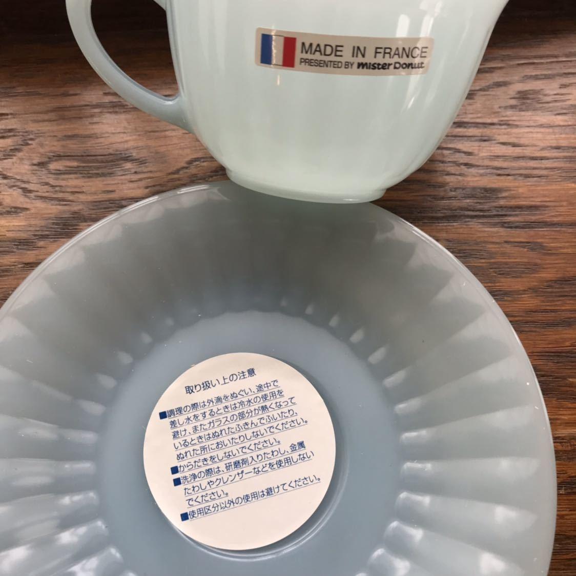 ミスタードーナツ カップ&ソーサー シール付き新品 アルコパル arcopal ノベルティ ミルクガラス ミスド 食器_画像5