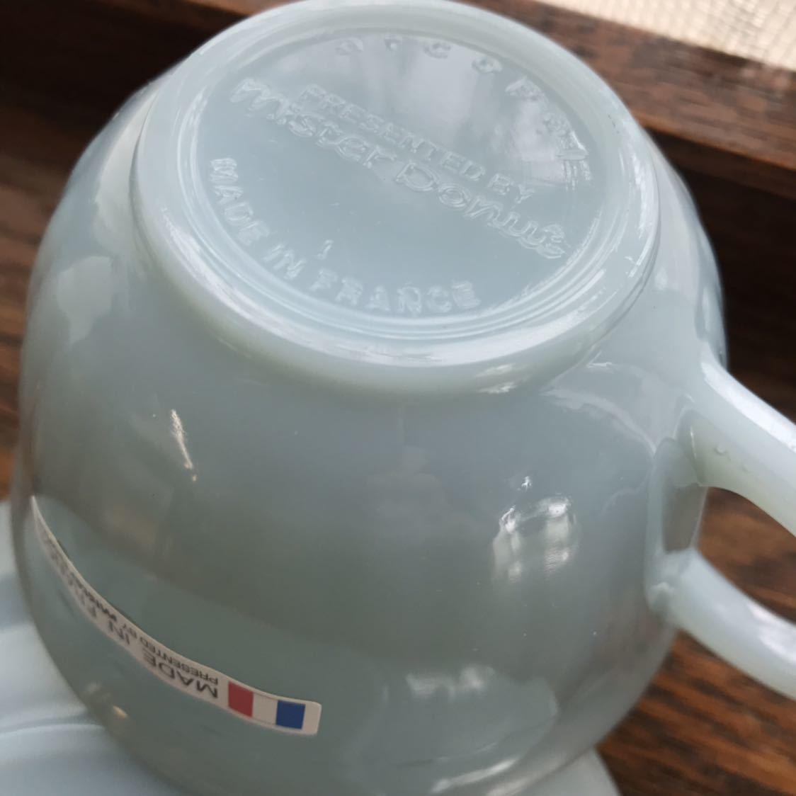 ミスタードーナツ カップ&ソーサー シール付き新品 アルコパル arcopal ノベルティ ミルクガラス ミスド 食器_画像6