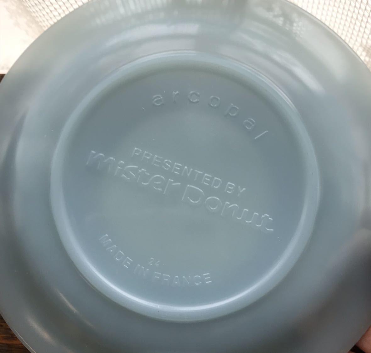 ミスタードーナツ カップ&ソーサー シール付き新品 アルコパル arcopal ノベルティ ミルクガラス ミスド 食器_画像7