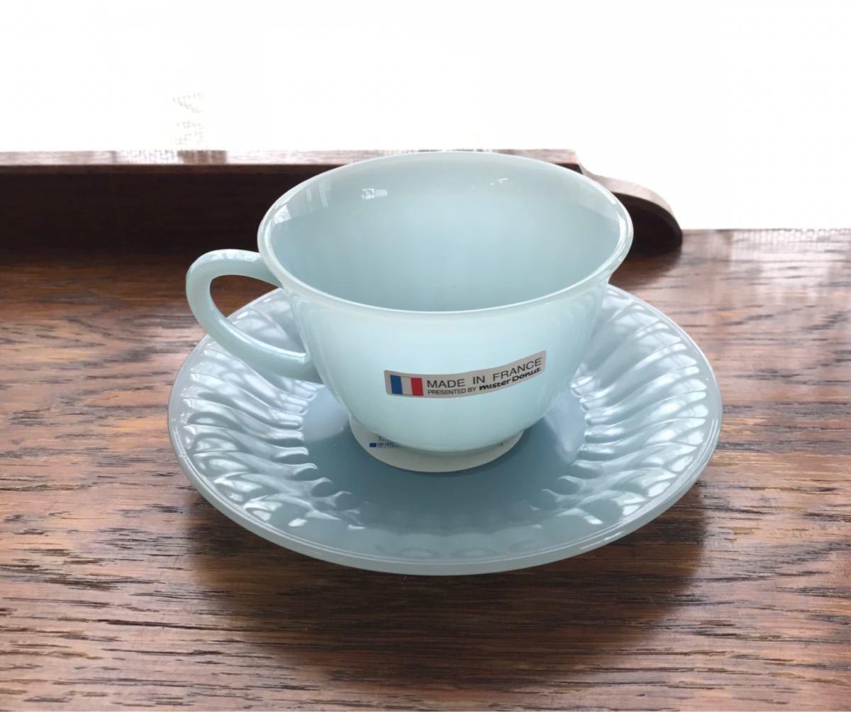 ミスタードーナツ カップ&ソーサー シール付き新品 アルコパル arcopal ノベルティ ミルクガラス ミスド 食器