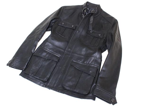 COMME CA コムサ お洒落なデザイン♪☆美品☆ ラムレザー 羊革 マルチポケット ZIP ジャケット コート アウター ブラック 黒 メンズ