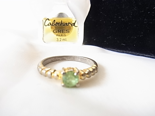 Melon color yellow-green zircon stone size No. 11 ring ring ☆