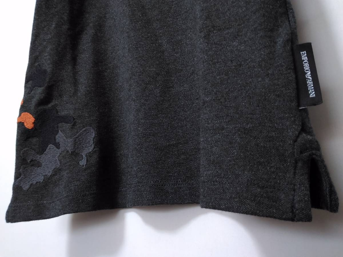 [新品] 12A(12歳) EMPORIO ARMANI / JUNIOR 迷彩柄の刺繍入り【半袖ポロシャツ】◆2018-19年秋冬モデル 男の子用 150cm ◆色:グレー_画像4