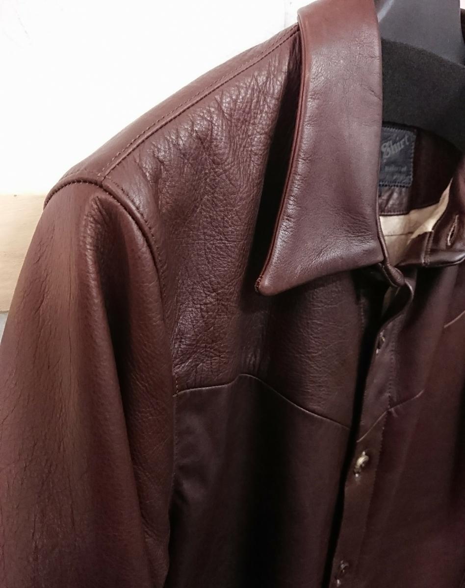 美品☆Body Shirt MR.OLIVE ミスターオリーブ カウハイド レザージャケット シャツ M 日本製_画像3