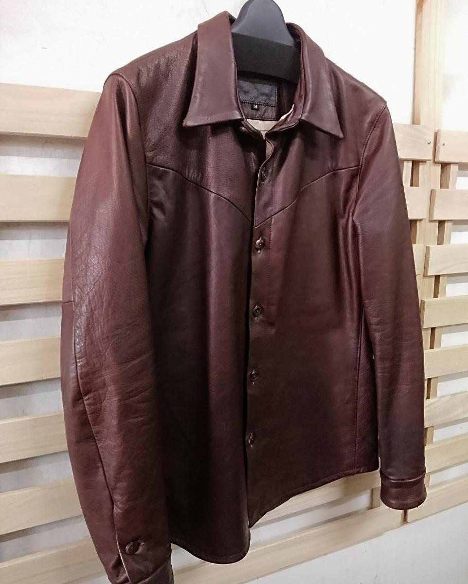 美品☆Body Shirt MR.OLIVE ミスターオリーブ カウハイド レザージャケット シャツ M 日本製_画像5