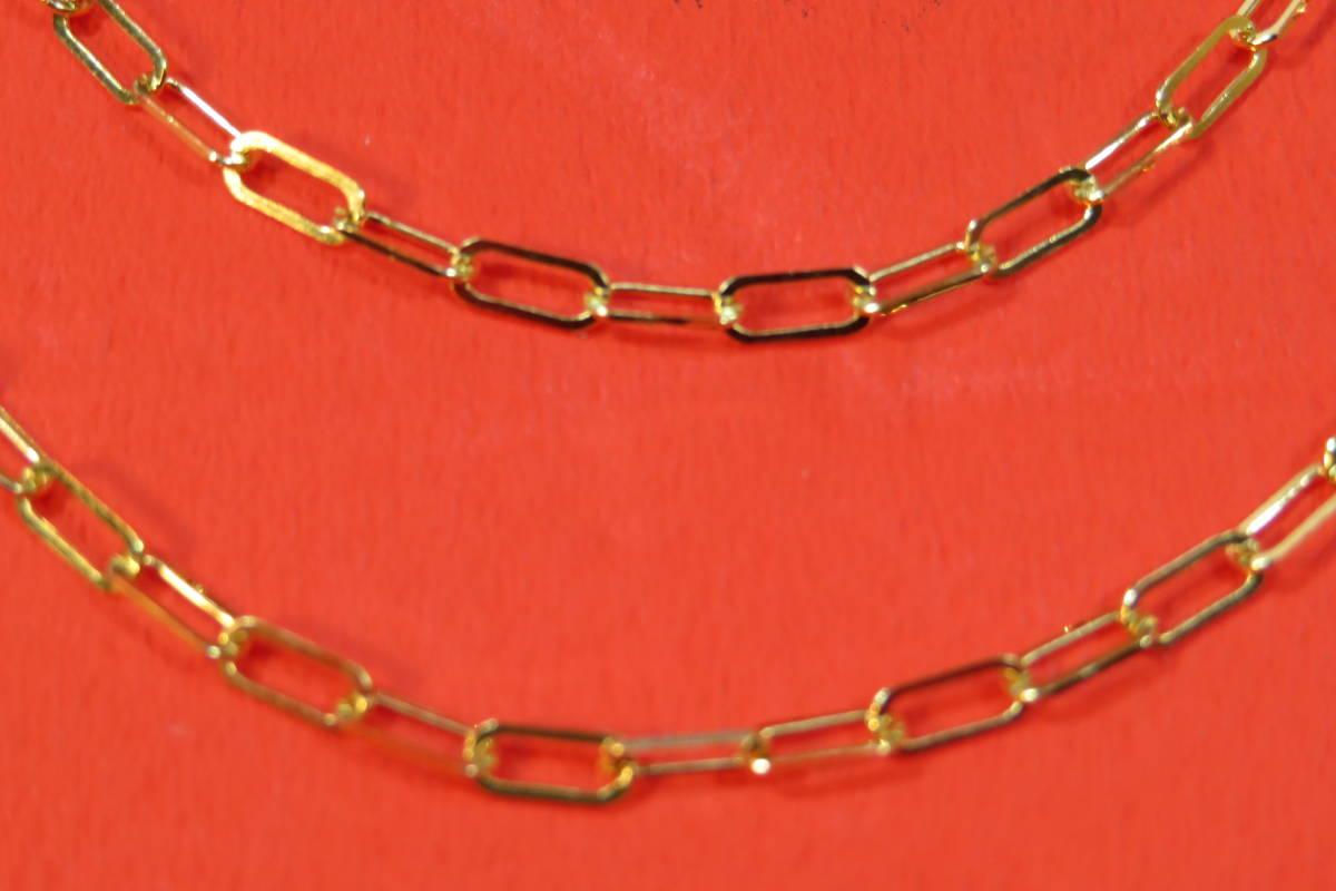 新品 k18 イエローゴールド あずきチェーン ( 角長 )  ネックレス     60 cm    4.91 g _画像1