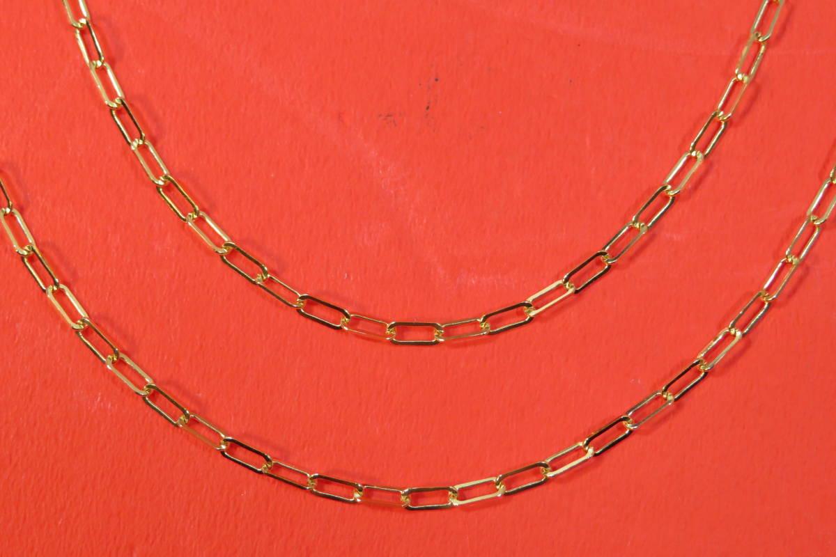 新品 k18 イエローゴールド あずきチェーン ( 角長 )  ネックレス     60 cm    4.91 g _画像2