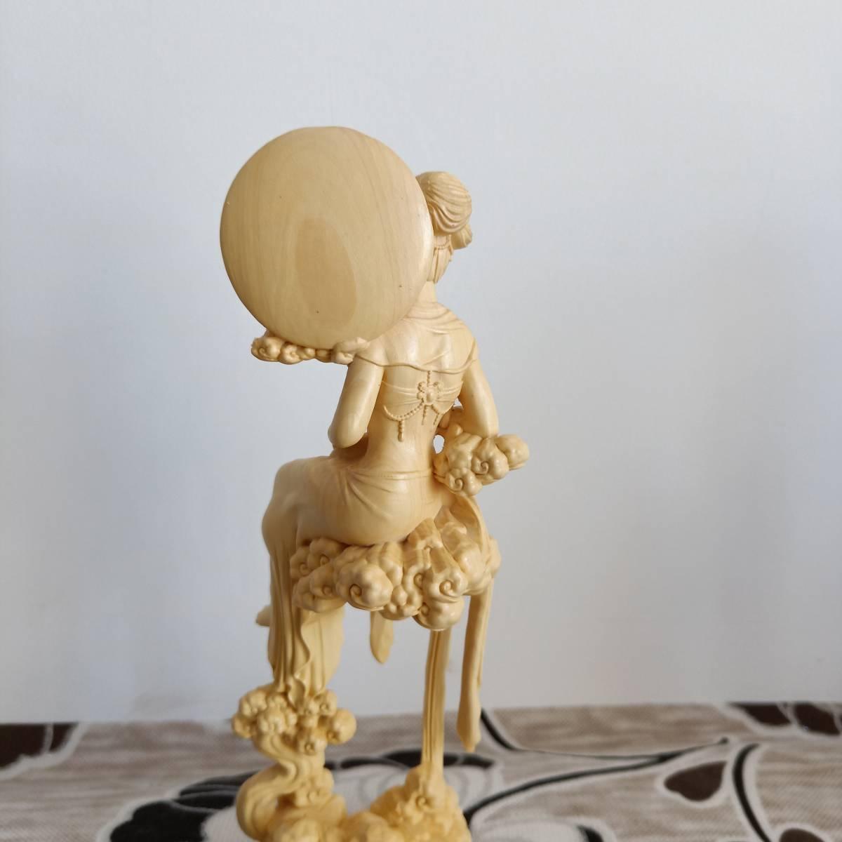 柘植木透かし彫り細工弁財天像【技芸上達】美女像インテリア仏像置物オブジェ根付実写版彫刻像人形コミックアニメグッズキャラクター2