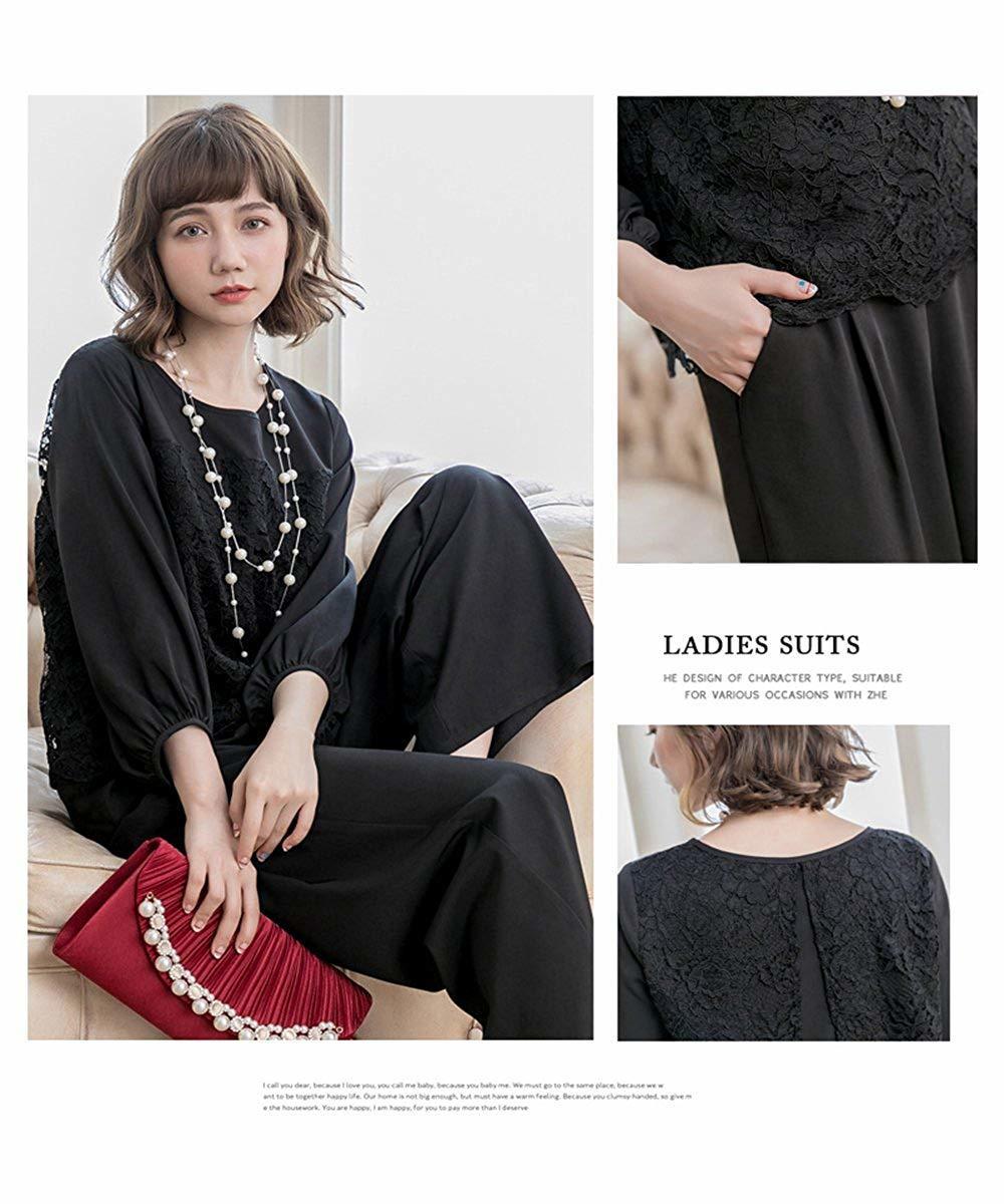 【新品】[YOUHA] パーティードレス パンツドレス 結婚式 大きいサイズ 袖あり セットアップ レディース (ブラック, L)_画像2