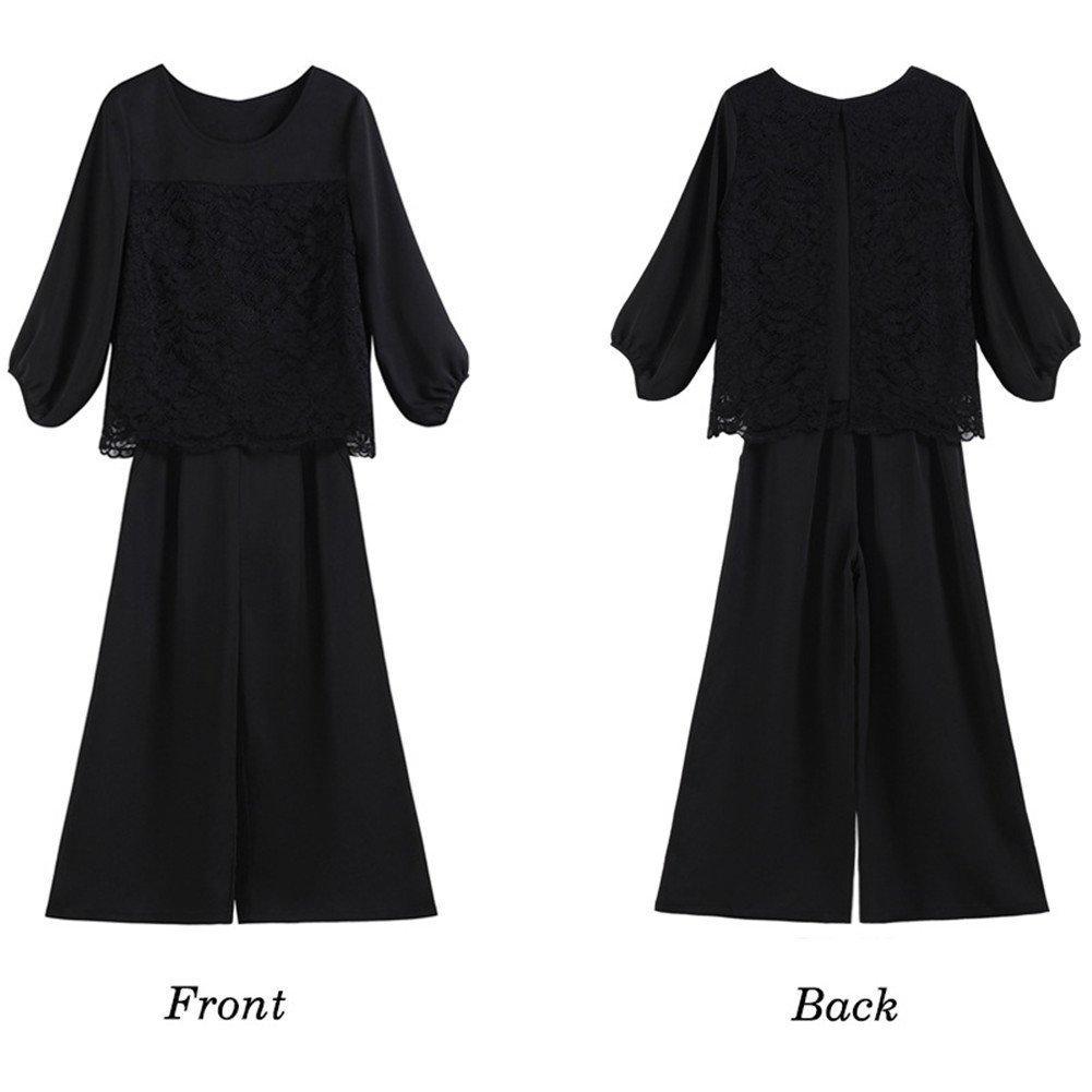 【新品】[YOUHA] パーティードレス パンツドレス 結婚式 大きいサイズ 袖あり セットアップ レディース (ブラック, L)_画像8