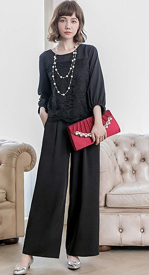 【新品】[YOUHA] パーティードレス パンツドレス 結婚式 大きいサイズ 袖あり セットアップ レディース (ブラック, L)_画像5