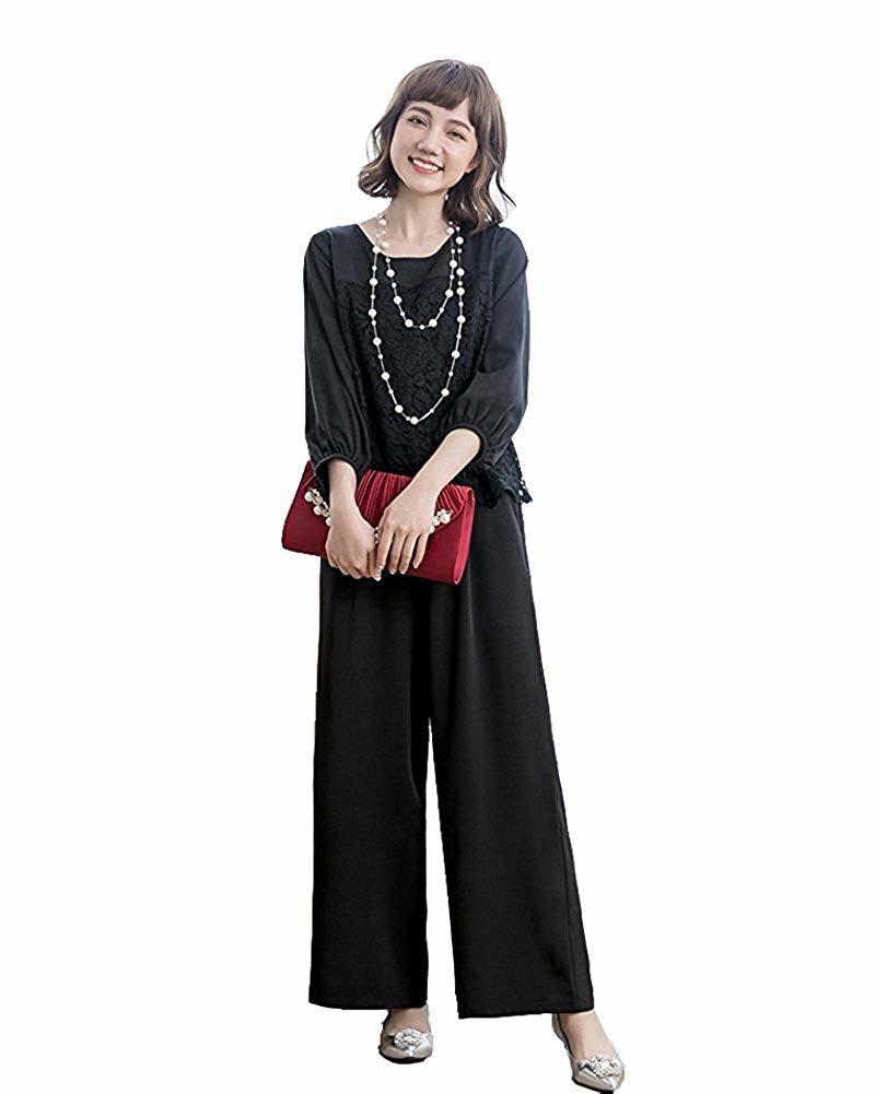 【新品】[YOUHA] パーティードレス パンツドレス 結婚式 大きいサイズ 袖あり セットアップ レディース (ブラック, L)