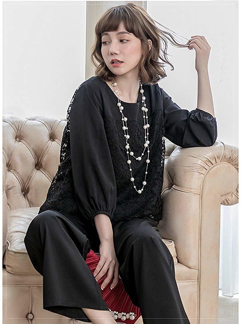 【新品】[YOUHA] パーティードレス パンツドレス 結婚式 大きいサイズ 袖あり セットアップ レディース (ブラック, L)_画像6