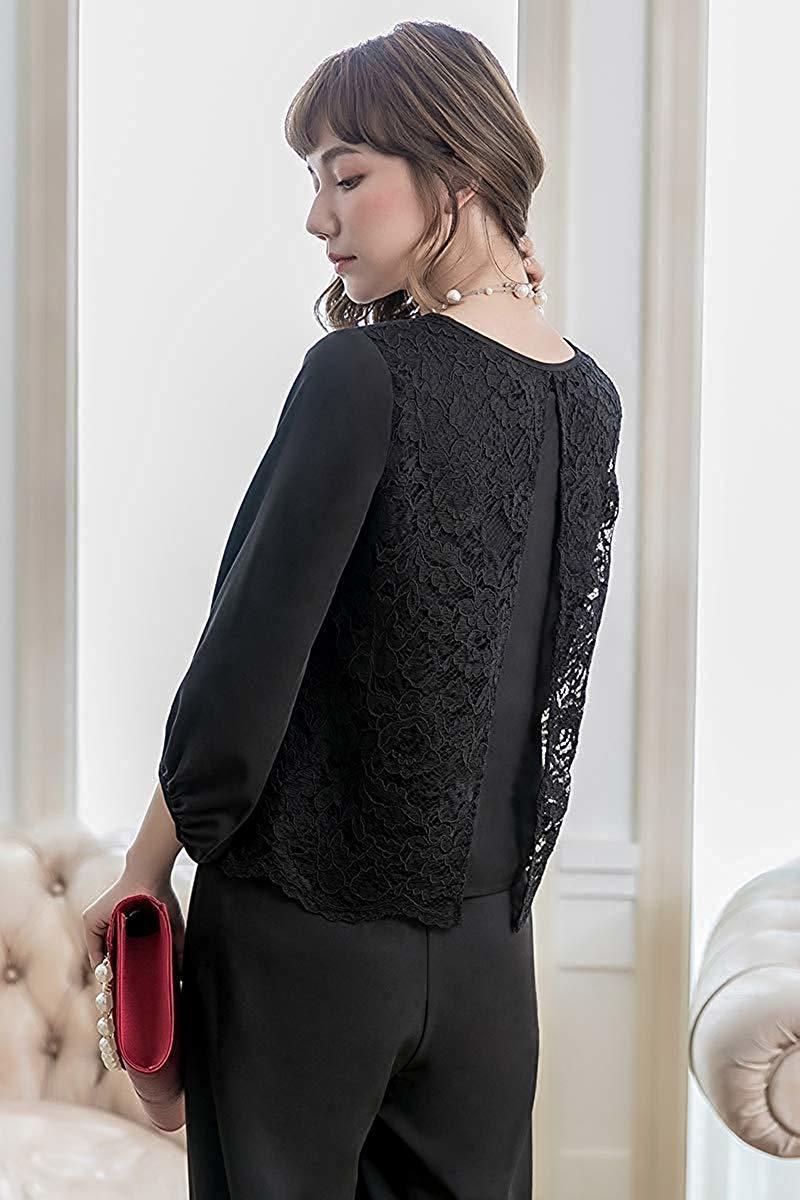 【新品】[YOUHA] パーティードレス パンツドレス 結婚式 大きいサイズ 袖あり セットアップ レディース (ブラック, L)_画像4