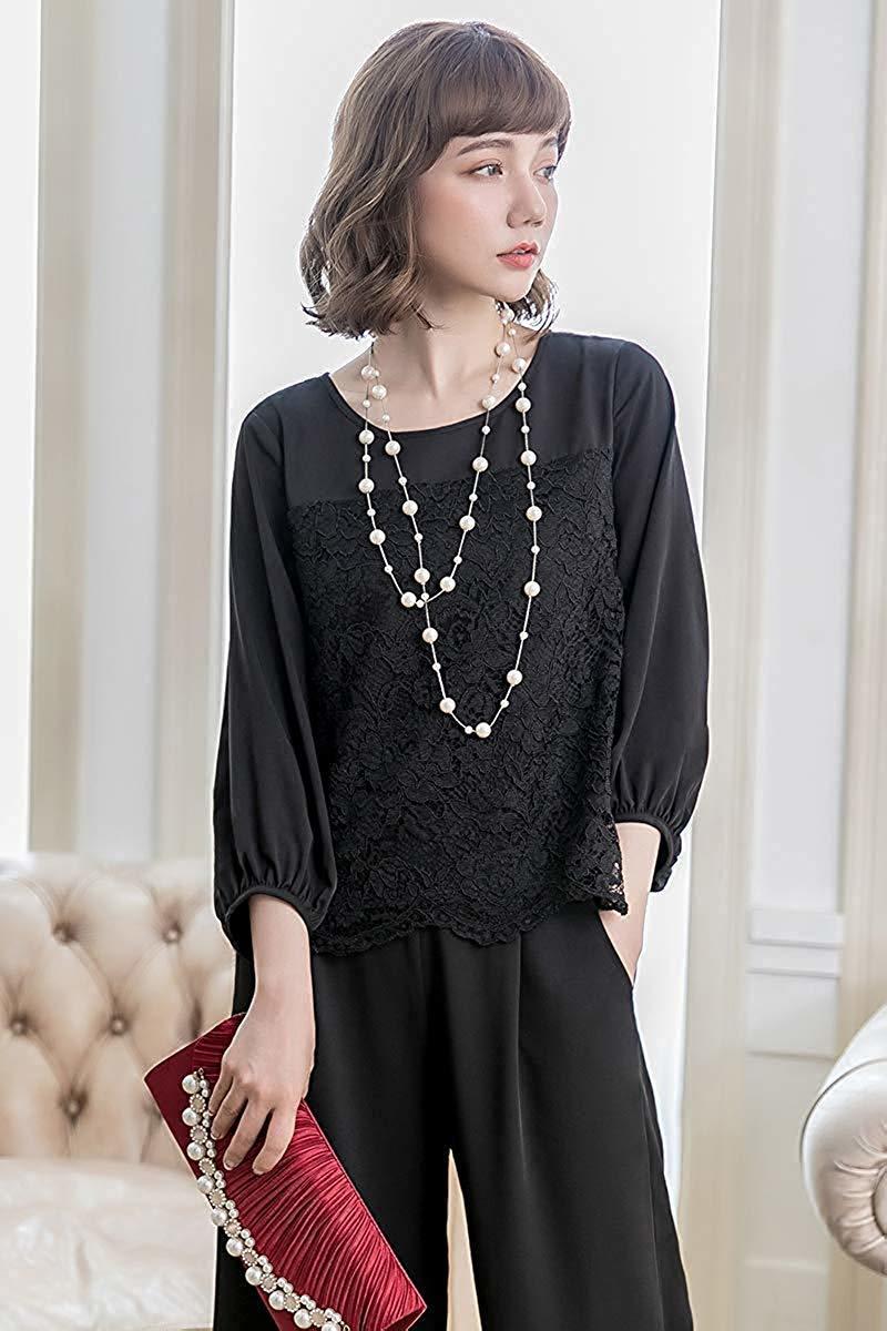 【新品】[YOUHA] パーティードレス パンツドレス 結婚式 大きいサイズ 袖あり セットアップ レディース (ブラック, L)_画像3