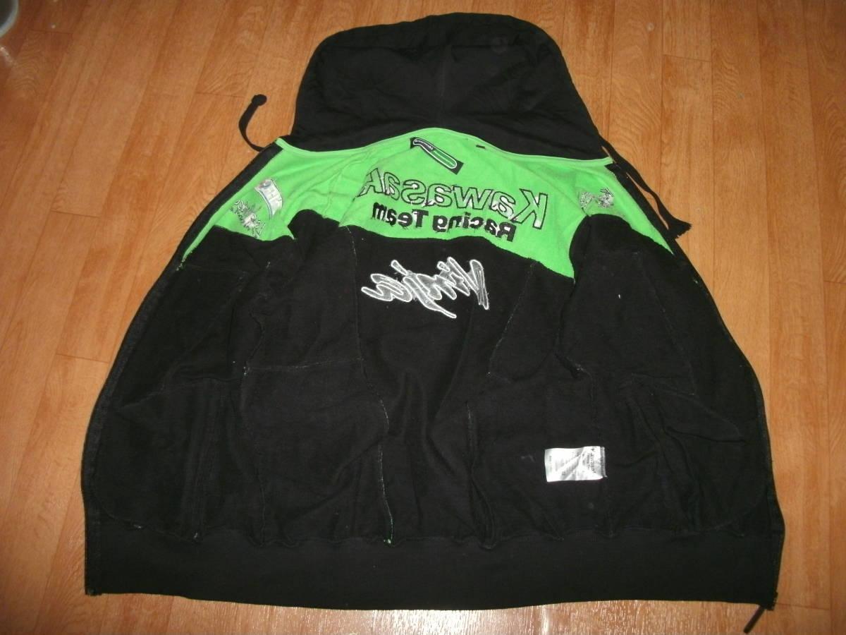 カワサキレーシングチーム公式 刺繍パッチモデルフード付きトラックジャージジャケット 美中古 サイズM ニンジャピレリーエルフ_画像8