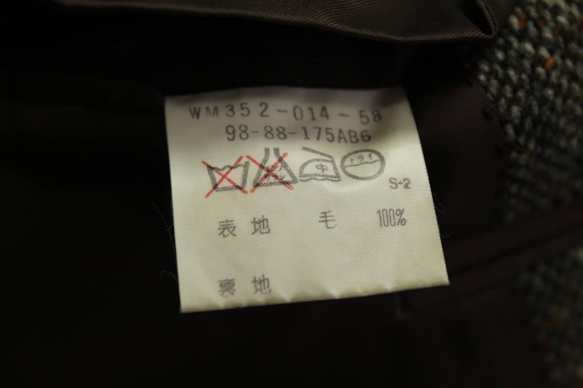 バーバリー BURBERRY 最高級ツイードジャケット ブレザー AB6 二つ釦 極美品 冬物 メンズ 紳士服 48相当【送料無料 送料込み 匿名配送】_画像8