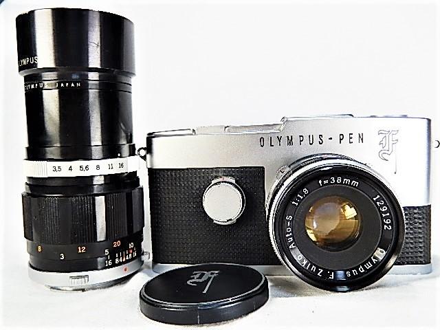 ★美品 オリンパス ペンF 1:1.8 38mm + 100㎜望遠レンズ モルト交換・点検清掃・作動確認済