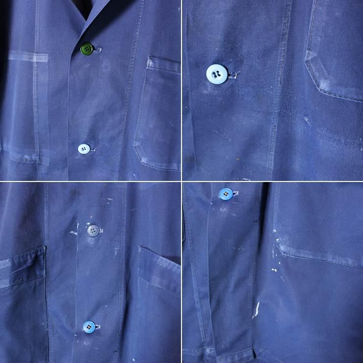 ドイツ 60s-70s ワーク コート ヨーロッパ古着 ネイビー メンズSM相当 ショップ ジャケット ペンキ跡 021319ss12_画像2