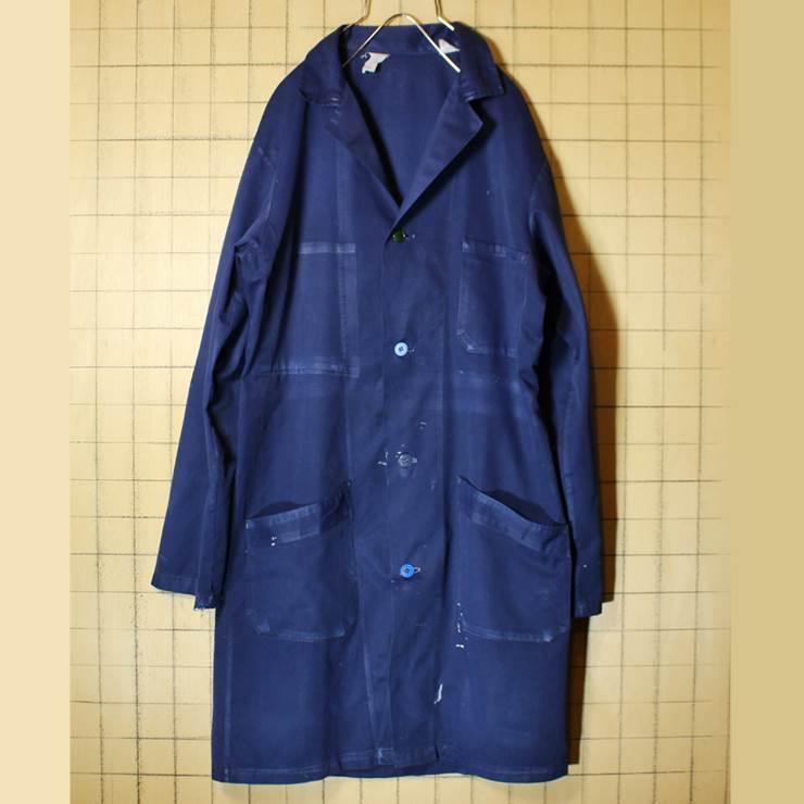 ドイツ 60s-70s ワーク コート ヨーロッパ古着 ネイビー メンズSM相当 ショップ ジャケット ペンキ跡 021319ss12_画像1