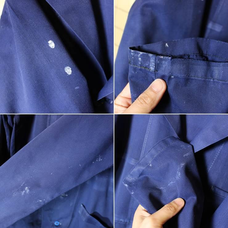 ドイツ 60s-70s ワーク コート ヨーロッパ古着 ネイビー メンズSM相当 ショップ ジャケット ペンキ跡 021319ss12_画像3