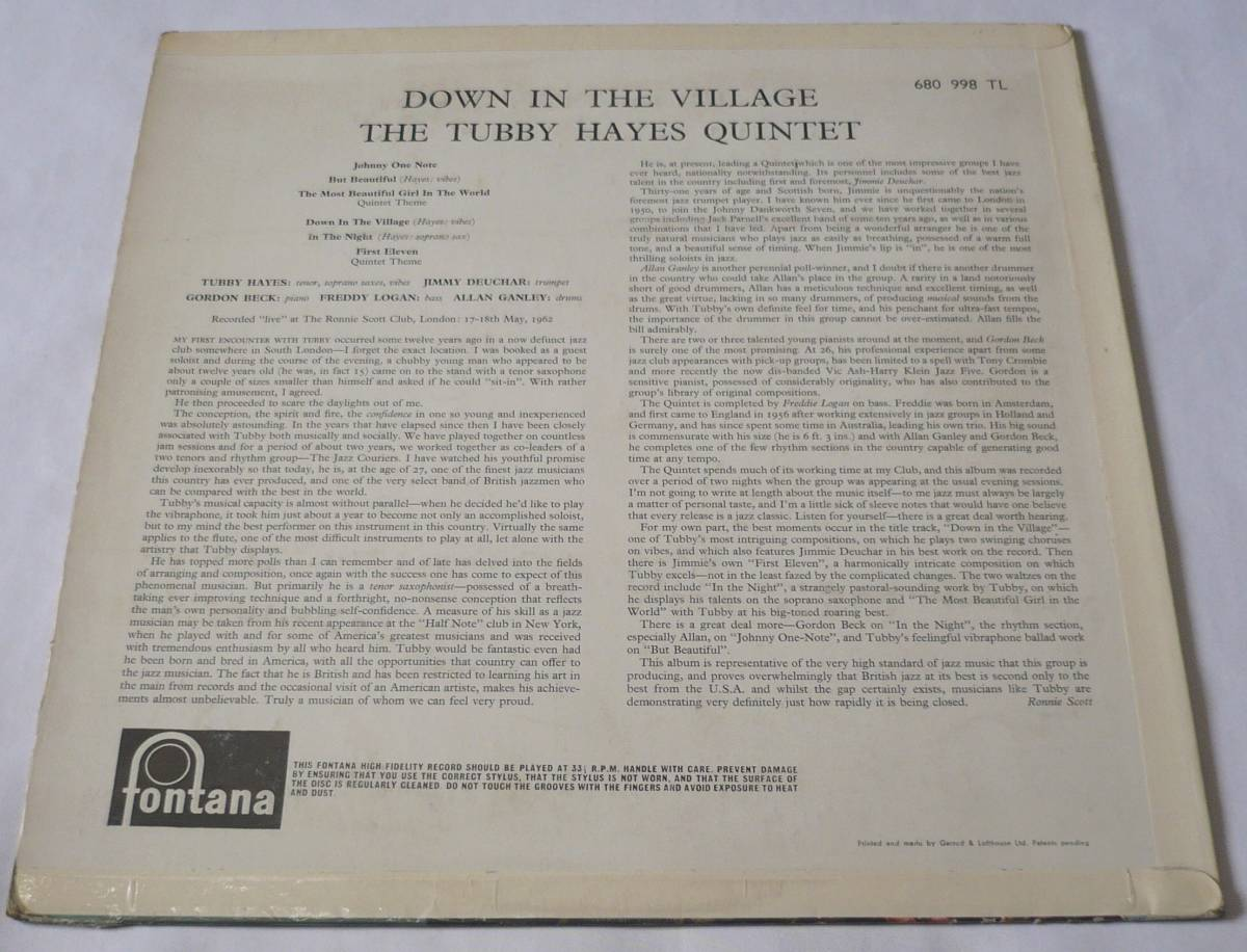 Tubby Hayes/Down in the Village/英Fontana 680990 TL 試聴_画像2