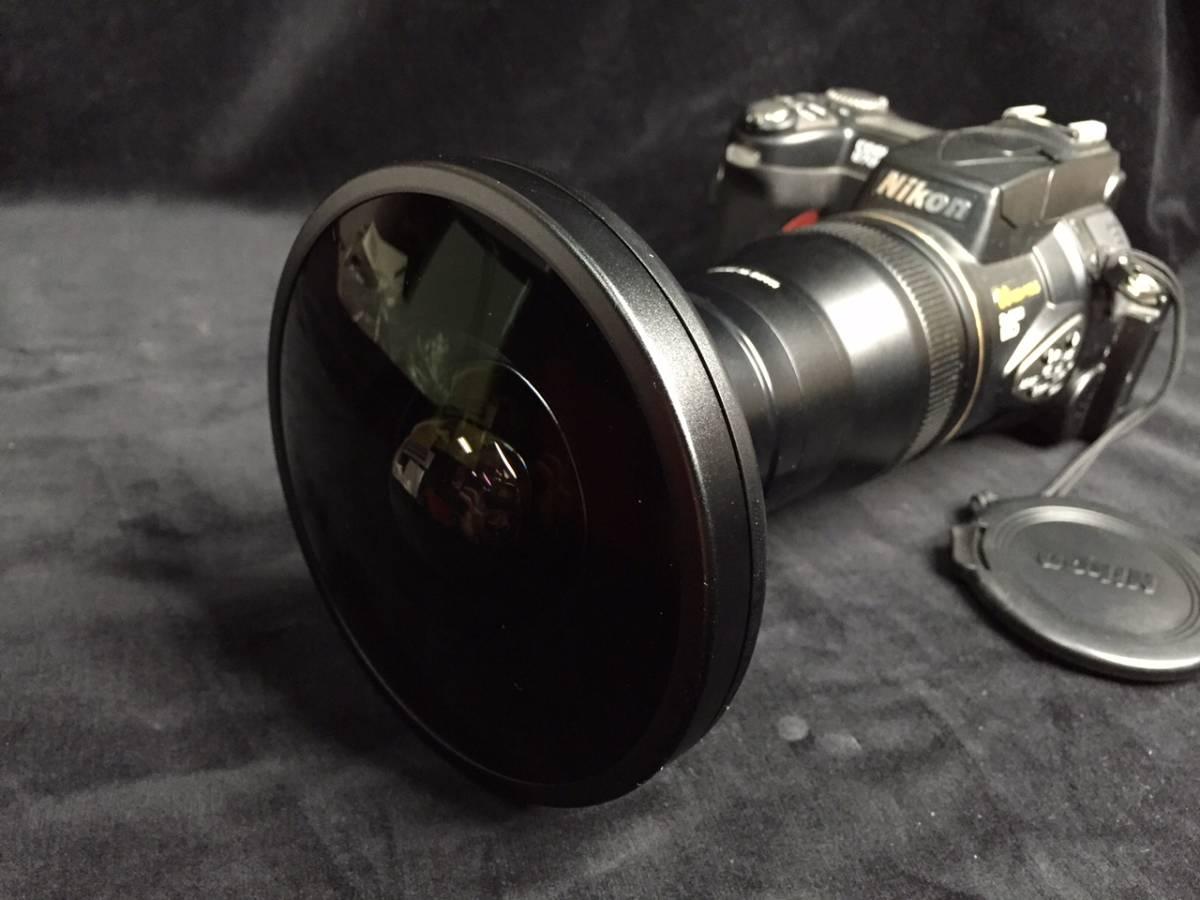[送料無料] Nikon FC-E9 フィッシュアイコンバーター レア 魚眼 Fisheye Converter X0.2 + COOLPIX 8700 + アダプタリング UR-E18_画像1
