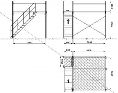 中二階スチールロフトラック(階段なし、連結可能)貸工場、倉庫内の空間有効活用/メザニン・ステージ・フロア・カーポート車庫で使用可能_画像2