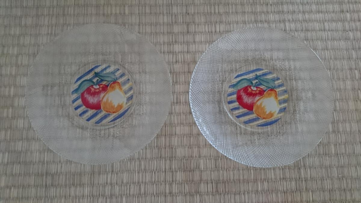 昭和レトロ フルーツ柄 ガラス皿 ケーキ皿 プレート 食器 洋食器 未使用 美品_画像1