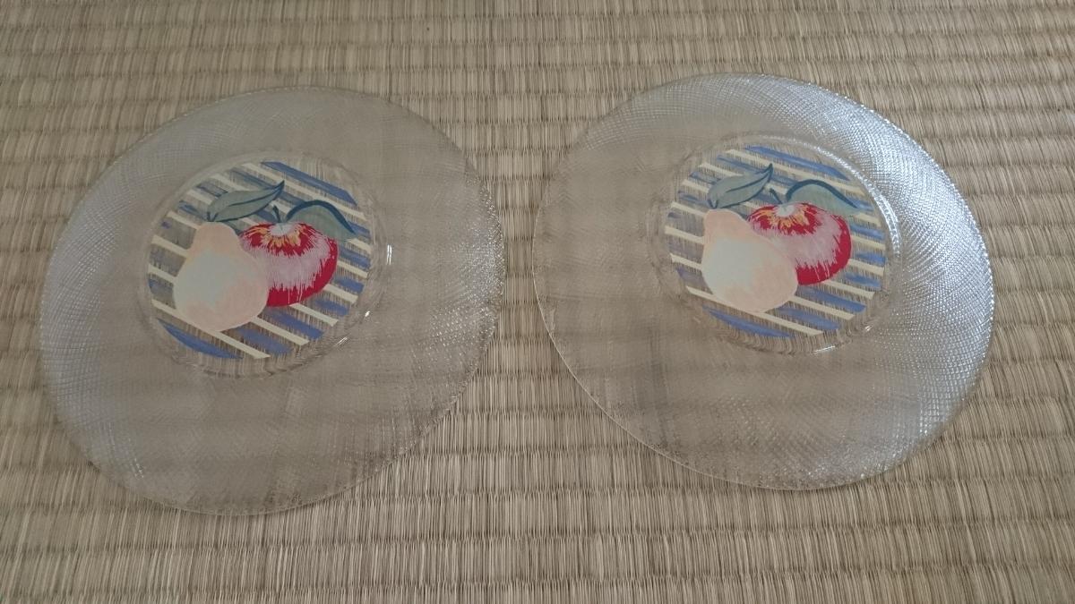 昭和レトロ フルーツ柄 ガラス皿 ケーキ皿 プレート 食器 洋食器 未使用 美品_画像4
