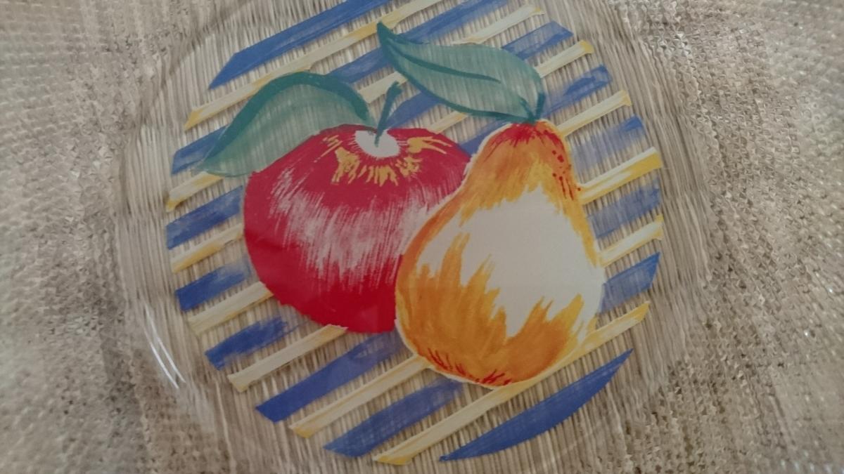 昭和レトロ フルーツ柄 ガラス皿 ケーキ皿 プレート 食器 洋食器 未使用 美品_画像3