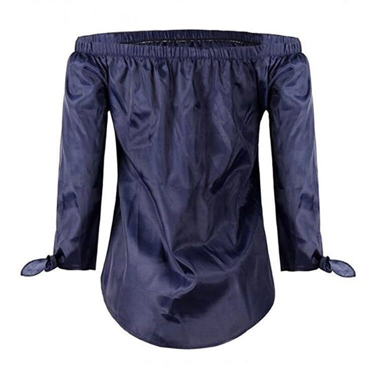 オフショルダー セクシー カットソー シャツ ブラウス シンプル 無地 袖リボン 結び ライトブルー 水色 S KIRITOA fabulous ファビュラス