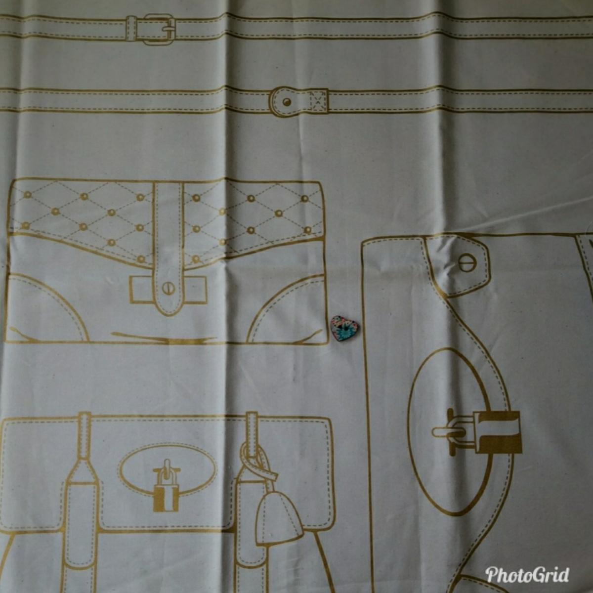 だまし絵 バーキン風バッグやポーチが四つ作れます 作り方付き 数量2がおすすめ カス入り オックス生地 生成り_画像2