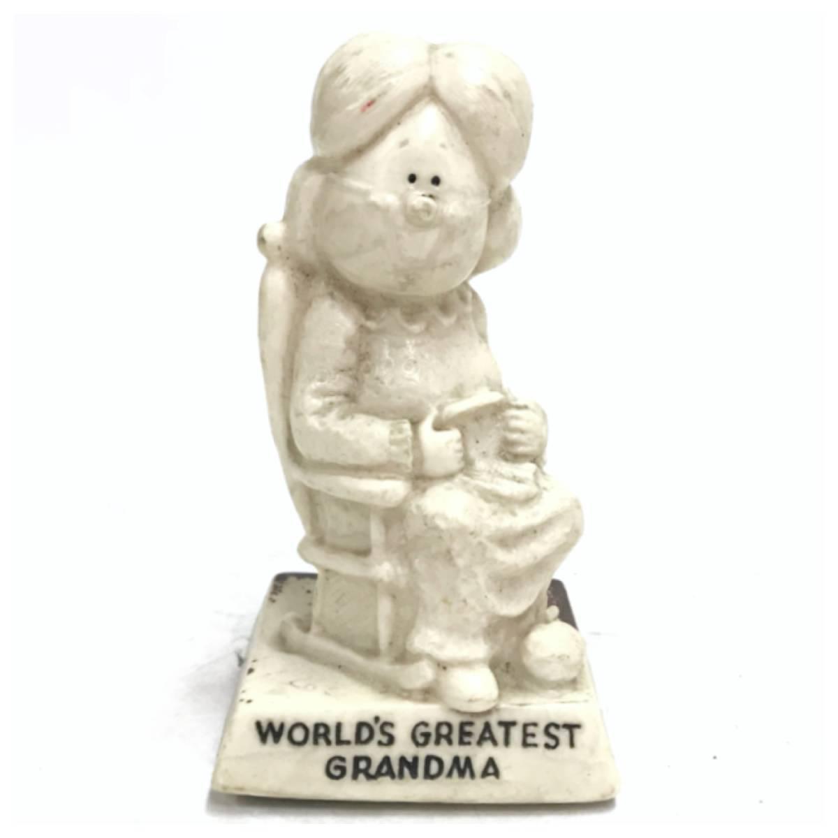 メッセージドール WORLD'S GRATEST GRANDMA シリースカルプス インテリア 小物 雑貨 置物 レトロ オールド ビンテージ アンティーク D-1385_画像1